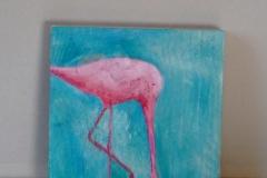 "Titel: ""Flamingo"" * Technik: ""auf Holz"" * Format: 20x20 * Mindestgebot: 60,-€"