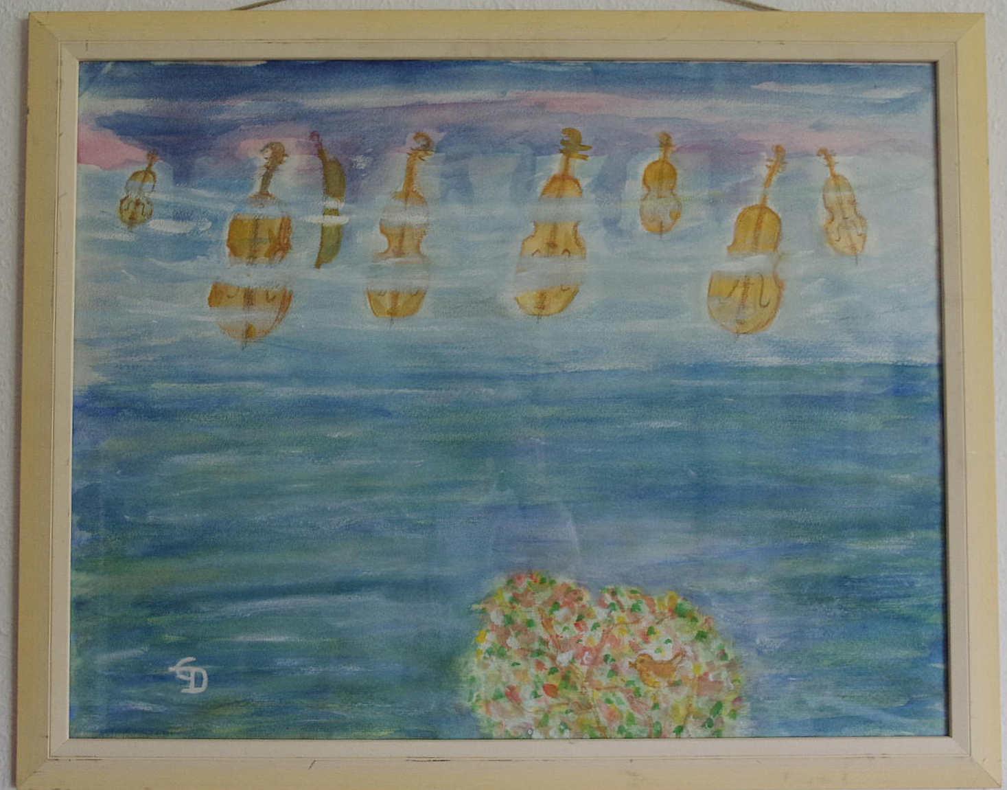 """Künstlerin: """"Eva Deiters"""" * Titel: """" Der Himmel hängt voller Geigen"""" * Technik: gerahmt, Glas, * Format: 64x50cm"""