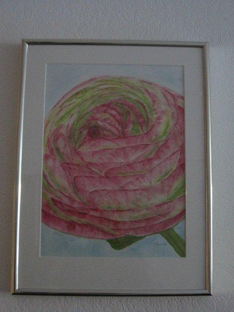 "Titel: ""Blüte"" * Technik: ""Aquarell, Holzprifil wechselrahmen, goldfarben"" * Format: 54x53 cm"